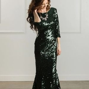 Valentina Low Back Sequin Gown
